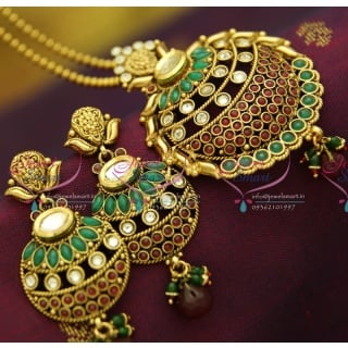 PS2862 Kundan Finish Antique Gold Plated Ball Chain 16 Inch Pendant Set Online Offer