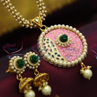 P4035 Antique Pearl Chain Colour Flower Stones Pendant Latest Fancy Matching Jewelry