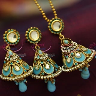 PS1332 Kundan Finish Antique Bell Design Gold Plated Ball Chain 16 Inch Pendant Set Online Offer