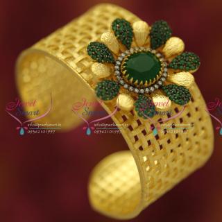 B5305 Broad CZ Gold Design Fancy Open Kada Party Wear Jewellery Buy Online