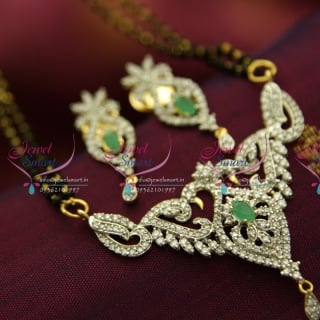 M4262 CZ Emerald Mangalsutra Indian Traditional Auspicious Jewellery Online Gold Plated CZ Pendant