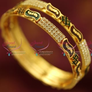 B0231B 2.8 Size 2 Pieces Party Wear White Maroon Green Bangles Online