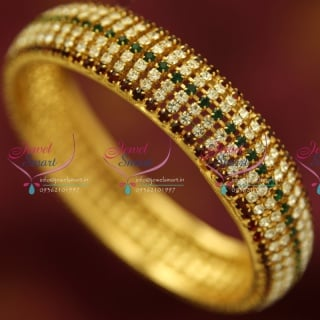 B4369X 2.10 Size Broad White Green Maroon Grand Single Piece Bangles Buy Online