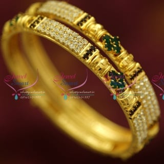 B4380M 2.6 Size 2 Pieces Party Wear White Maroon Green gStones Bangles Online