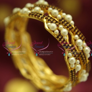 B4391M 2.6 Size 2 Pieces Party Wear White Maroon Pearl Stone Fashion Bangles Online