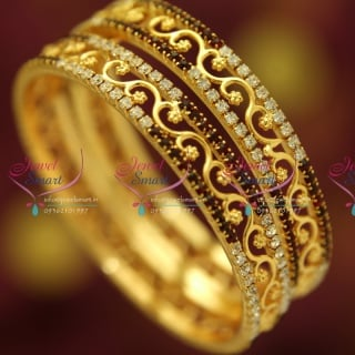 B4722B 2.8 Size White Maroon Stones Fancy Floral Design Traditional Bangles Buy Online