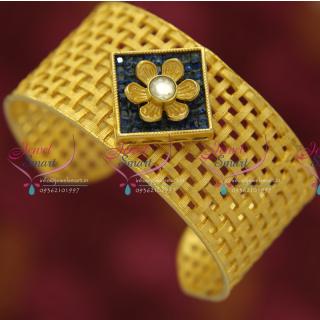 B5031 Broad CZ Gold Design Fancy Open Kada Party Wear Jewellery Buy Online