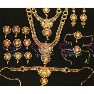 W0494 Exclusive Indian Traditional Grand Temple Laxmi God Wedding Jewellery Kempu Stones Antique Gold Plated