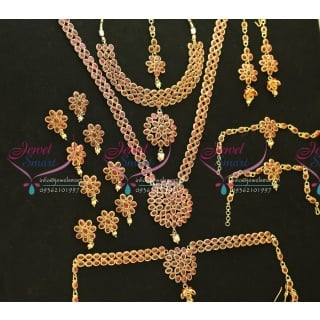 W0171 Bridal Exclusive Indian Traditional Grand Temple Wedding Jewellery Kempu Stones Red Gold Plated