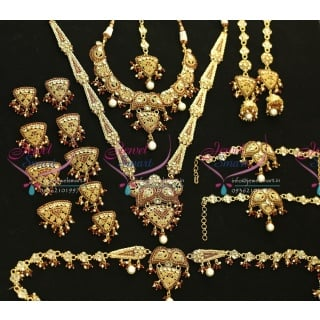 Gold Plated Antique Wedding Set Earrings Necklace Long Necklace Arm Band