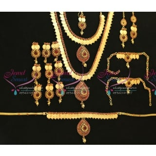 W5660 Bridal Indian Traditional Grand Temple Coin Wedding Jewellery Antique Gold Plated