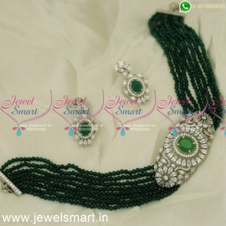 Talk of the Town Crystal Choker Necklace Green Glowing Diamond CZ Stones NL24074