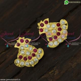 Tamilnadu Kammal Traditional Gold Ear Studs Designs Getti Metal Jewellery