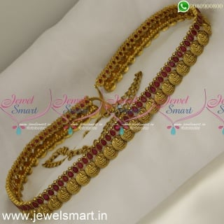 Temple Coin Model Hip Chain Bridal Oddiyanam Ruby and Emerald Antique Jewellery