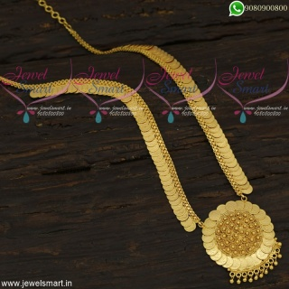Temple Haram Graceful Kasulaperu Long Gold Necklace Traditional Jewellery Online NL21982