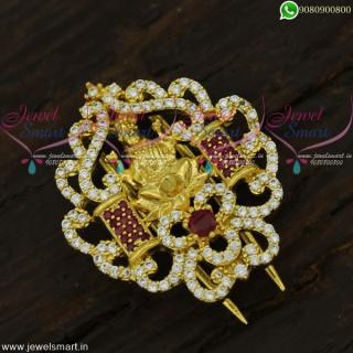 Temple Jada Billalu Bridal Single Piece Accesories for Hair Gold Plated CZ StonesH21942