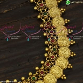 Temple Jewellery Coin Haram Long Necklace Set Beautiful Imitation Collections NL21741