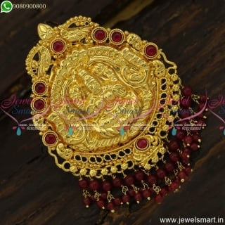 Temple Jewellery With Colour Beads Danglers Gold Pendant Design New OnlineP23869