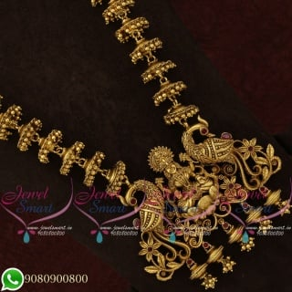 Temple Jewellery Long Necklace Antique Gold Traditional Design