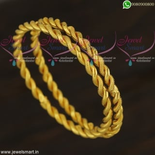 Thick Metal Trendy Bangles Gold Plated Daily Wear Twisted Design Online B21865