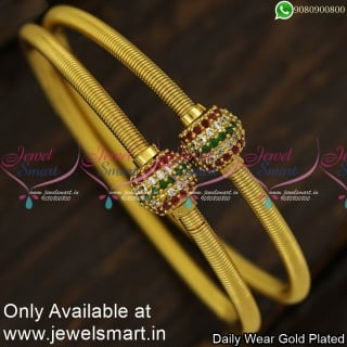 Thin AD Stone Ball Spring Kappu Gold Bangles Design Set of 2 Fashion JewelleryB23997