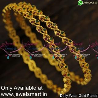Thin Manga Valayal New Gold Kangan Design Climber Leaf Fashion Jewellery B24006