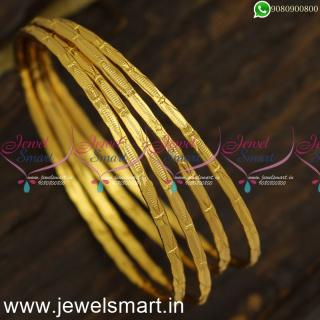 Thin Set of 4 Comfy Gold Kangan Design New Valayal Models Shop OnlineB24020