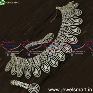 Thoranam Inspired Vibrant Diamond Choker Necklace Design Rose Gold Silver Bridal Jewellery NL24079