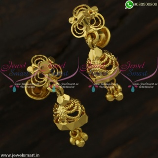 Tiny Jhumka Earrings Baby Size Gold Plated Daily Wear Jewellery Online J22236