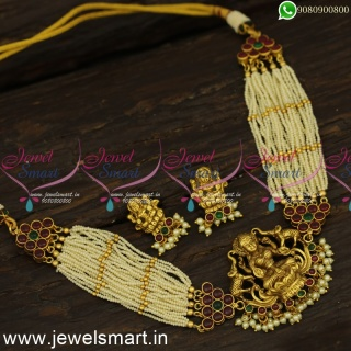 Tiny Pearls Choker Necklace Set Antique Gold Trending Temple Jewellery With MugappuNL24261