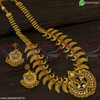 Top Jewellery Designs Implausible Long Gold Necklace Catalogue Finish Artistry NL22947