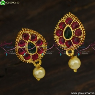 Traditional Gold Ear Studs Design for Women With Pearl Daily Wear ER23611