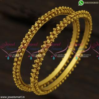 Traditional Handmade Gajri Gold Bangles Design In Imitation Antique Dull Finish B23294
