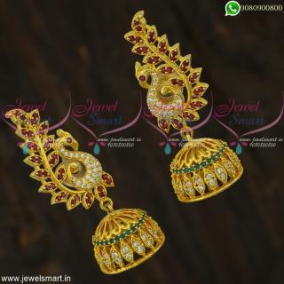 Traditional Jhumkas Online Fashionable Peacock Jewellery Screwback Lock