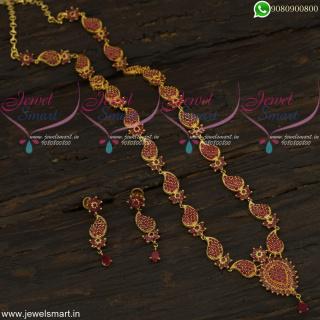 Traditional Mango Stone Haram Long Gold Necklace Jaipuri Jewellery Online NL22313
