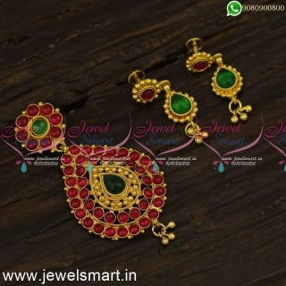 Traditional South Indian Pendant Earrings Set For Gold Chains Online PS24326
