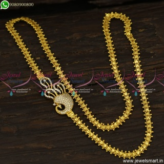 Trending Peacock Mugappu Chains Gold Catalogue Inspired Covering Jewellery C23641