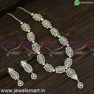 Trending Silver Necklace Designs Glowing CZ Jewellery Ideas For Wedding NL24244