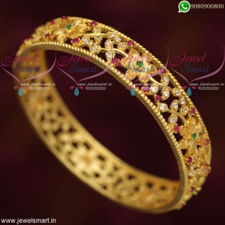 Trendy Bangles Online Broad Floral Design AD Stone Studded Collections