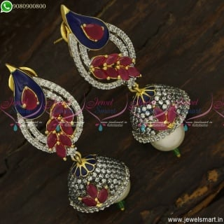 Trendy CZ Antique Jhumka Earrings A Kind of Fusion Meenakari Jewellery