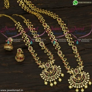 Trendy Fashion Jewellery Set For Wedding Short and Long Gold Necklace ComboNL22318