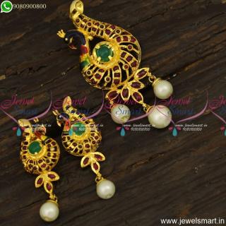 Trendy Gold Dollar Designs With Small Ear Studs Original Kemp Meenakari JewelleryPS23913
