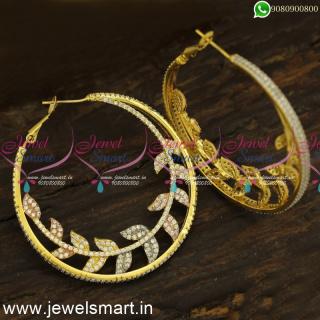 Trendy Leaf Adorned CZ Designer Bali Earrings Gold Silver and Rose Tone ER24447