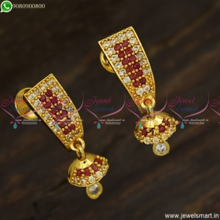 Trendy Small J Style Kammal Designs With Tiny Jhumka Gold Plated Jewellery ER23582