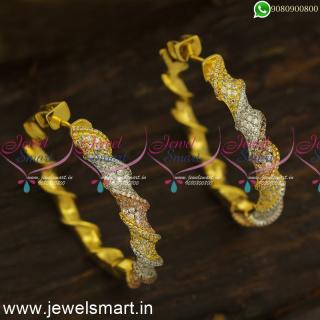 Twisted Fancy CZ Designer Bali Earrings Latest In Imitation Jewellery Online ER24446