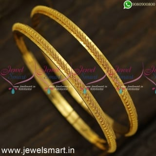 Twisted Jelebi Line Gold Bangles Design For Daily Use Alternate Cut Front B24558