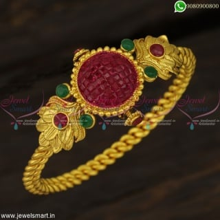 B7665 Twisted Design Open Kada One Gram Gold Plated Invisible Stone Jewellery