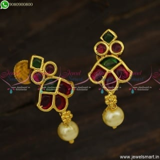 Unique Gold Plated Earrings Design With Kemp Stones South Indian Jewellery ER23613