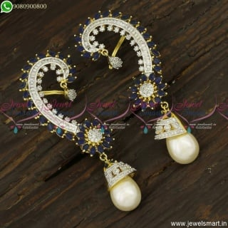 Unique Sapphire Blue Jhumka Earrings With CZ White Bluetooth Plus Clip On J23759