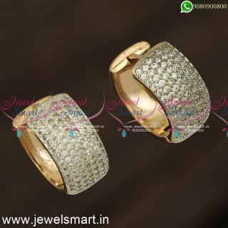 White CZ Designer Bali Earrings Online Gold Silver and Rose Gold Options ER24237